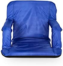 Camco 53095 Reclining Stadium Seat for Bleachers with Carry Straps-Water Resistant, Comfortable Cushioned Design with Arm Rests/Zippered Storage-Blue