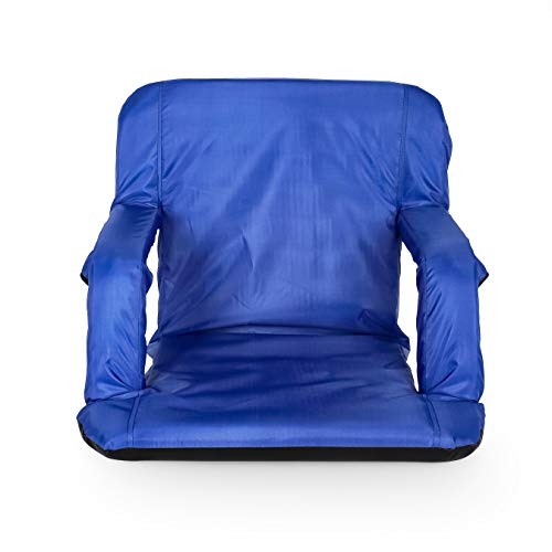 Camco 53095 Reclining Stadium Seat for Bleachers with Carry StrapsWater Resistant Comfortable Cushioned Design with Arm Rests/Zippered StorageBlue