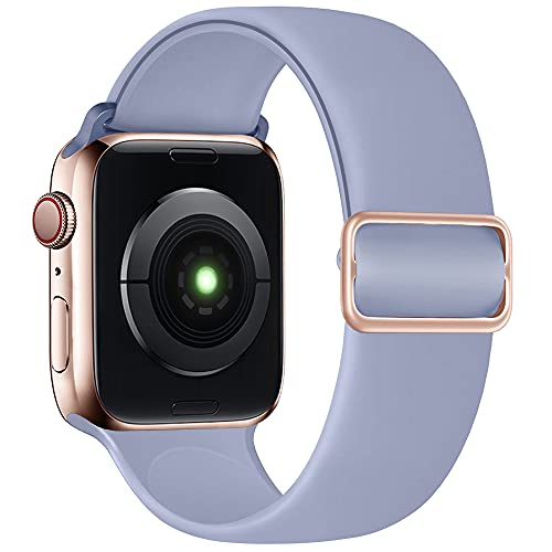 SIRUIBO Stretchy Solo Loop Band Compatible with Apple Watch Band 44mm 42mm, Adjustable Buckle Soft Silicone Sport Replacement Elastics Strap Women Men for iWatch Series SE/6/5/4/3/2/1, Lavender