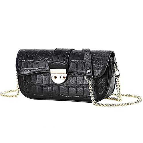 Bolsos de cuero genuino para mujer decoración de moda cremallera solapa pequeño hombro cruzado silla de montar bolsa con cierre de bloqueo negro