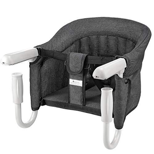 Tischsitz Faltbar Babysitz Baby Hochstuhl Sitzerhöhung für zu Hause und Unterwegs mit Transporttasche (Tischsitz Schwarz)
