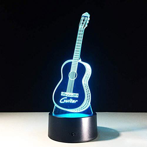 Luz De Noche Lámpara De Dormir 3D Guitarra Luz De Noche 3D Ilusión Creativa Lámpara 3D Led 7 Cambio De Color Sensor Táctil Usb Instrumentos Musicales Luz De Escritorio Regalo
