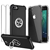 DREKEMU Compatible with iPhone SE 2020 Case, iPhone 8 Case, iPhone 7 Case with Screen Protector [2Pack] + Clear TPU Case, Shockproof Protective with Metal Ring Kickstand for Magnetic Car Mount, Black