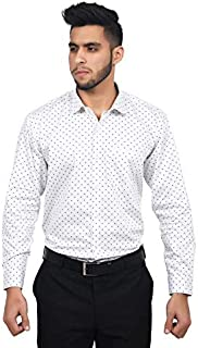 The Mods Men's Formal White Color Polka Dot Shirt