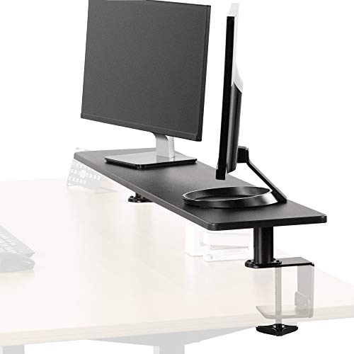 VIVO Black Clamp-on Extra Large 46 inch Ergonomic Desk Shelf, Multi Screen Computer Monitor Laptop Stand Riser Desk Organizer STAND-SHELF46B