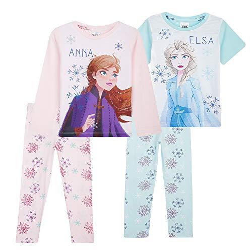 Disney Frozen - Pigiama da bambina, motivo: Anna ed Elsa, confezione da 2 pigiami, taglie da 18 mesi a 12 anni multicolore 4-5 Anni