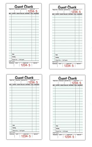 Adams Guest Check Pads, Single Part, Perforated Guest Receipt, 3-2/5' x 6-1/4', 50 Sheets per Pad, 40 Pack (525SW)