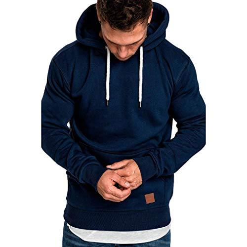 Yvelands ¡Oferta Barata Sudaderas con Capucha para Hombre Cosy Sport Outwear Sudadera con Cremallera Completa Ecosmart Hoodie Casual Sweatshirt Top Blouse ¡Caliente!(Azul Marino,L)