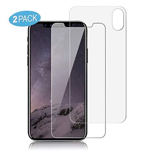 VAPIAO 2er Pack [2 Stück] [Panzerglasfolie] Hinten und Vorne Rückseite [Front and Back] kompatibel mit iPhone X, Xs Panzerglas 9H 3D Curve Glasprotektor Glasfolie Clear Glas Schutzfolie Echtglas