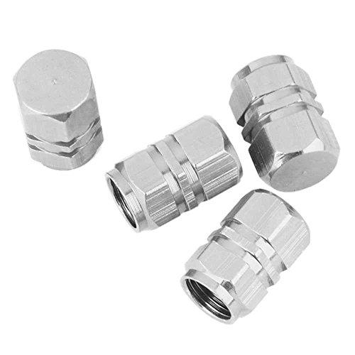 OcioDual 4X Tapones de Aluminio para la Valvula del neumatico de Coche, Moto, Bici, etc. Tapas Cubierta Plateados