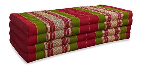 livasia Klappmatratze extrabreit (195cm x 110cm) aus Kapok, Faltbare Gästematratze, klappbare Matratze, asiatische Faltmatratze (rot/grün)