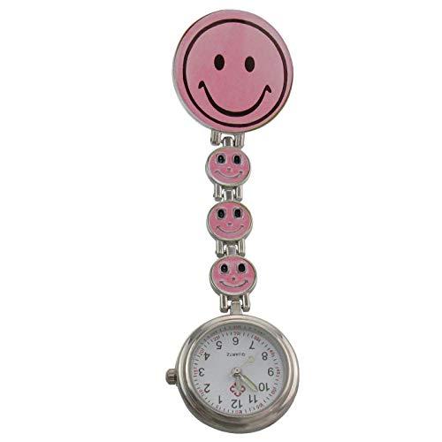 Century Ansteckuhren Smiley Klippuhren bunte Auswahl an Sister Uhren Pulsuhren Schwesternuhren für Pflegekräfte (4-Smileys rosa)