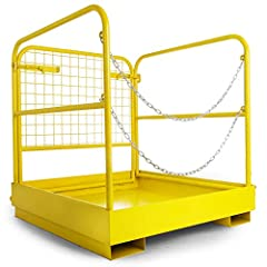 """Basket Aerial Rails 36""""x36"""", Heavy Duty Steel Construction, Capacity up to 1102LBS Fold down lift basket for better storage, easy to assemble and operate: No tools required; Easily mounts to forklift Non-slip floor, mesh back and the double chain doo..."""