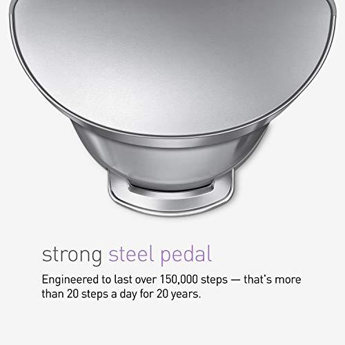 simplehuman CW2030 45L Semi-Round Pedal Bin, Brushed Stainless Steel, W 40.0cm x H 67.0cm x D 36.0cm