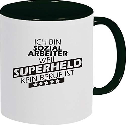Shirtstown Kaffeepott, Ich Bin Sozialarbeiter, Weil Superheld kein Beruf ist, Tasse Pott Kaffeetasse Teetasse Spruch Sprüche Logo, Farbe, schwarz
