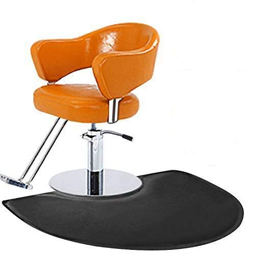 """Barber Shop Chair Mat Anti-Fatigue Floor Mat 4′x3′ Salon Floor Mat - Black Semi Circle Salon Mat - 1/2"""" Thick Office Comfort Floor Mat"""