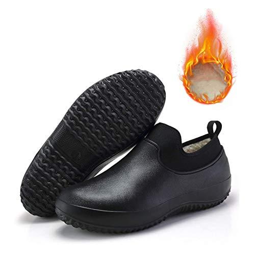 Zapatos de Chef Unisex Antideslizantes, Zapatos de Seguridad de Cocina Profesionales Resistentes al Agua y al Aceite, además de Zapatillas de Trabajo de Cachemira (Black,41)