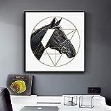 Caballos de estilo nórdico con lienzo de corte geométrico póster impreso imágenes artísticas de pared únicas para sala de estar dormitorio estudio pasillo 60x60 CM (sin marco)