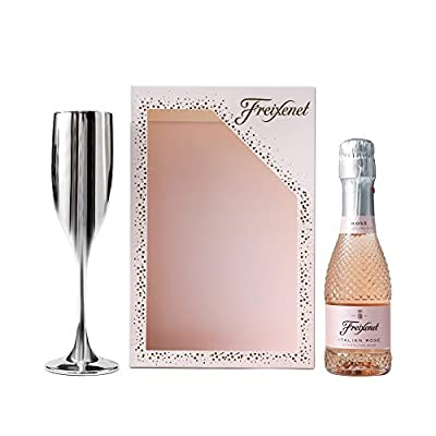 Freixenet Rose Sparkling Wine and Flute Gift Set - Freixenet Italian Rose Sparkling Wine 20cl and Silver Metallic Flute, Prosecco Gifts for Women - Mothers Day Gifts