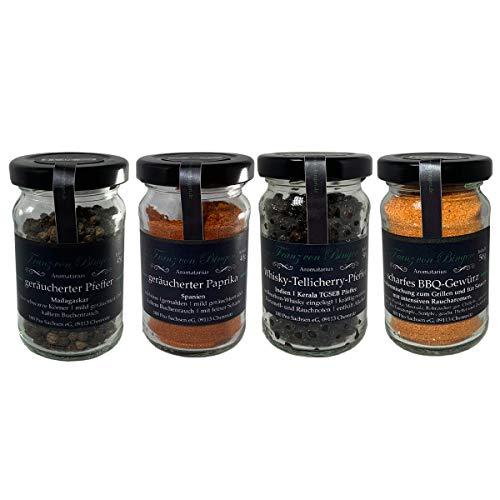Franz von Bingen - 4er BBQ-Gewürzset zum Grillen / Barbeque-Gewürzmischung inkl. geräucherter Paprika & Pfeffer und Whisky-Tellicherry-Pfeffer (4 x 40-50g) - ideal zum Marinieren von Fleisch & Fisch