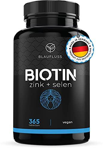 Biotin hochdosiert 10\'000mcg Zink Selen - Haut Haare Nägel - Haarwachstum beschleunigen - Biotin Tabletten - Zink Tabletten Zink hochdosiert - Haarausfall Frau Haarwuchsmittel Männer Bart Blaufluss