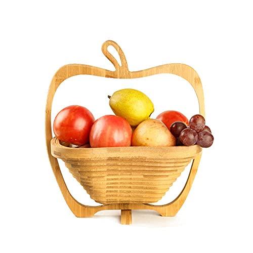 Hesily Cesta Plegable de bambú para Frutas y Verduras, Cesta para frutero...