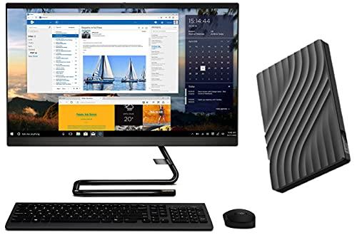 Lenovo IdeaCentre A340 23.8-inch FHD AIO Desktop (Intel i5/8GB/1TB HDD/Win 10/MSO/Slim DVD±RW/HD 720p Camera/Wireless Keyboard & Mouse), Black F0E800Q1IN + Lenovo Portable 1TB External Hard Disk Drive