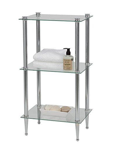 Creative Bath Products 20200-CH Letagere Classic and Transitional Series 3 Shelf Tower, Chrome