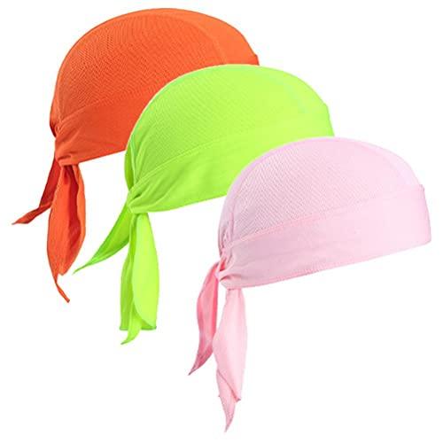 Holmeey Gorra bandana, pañuelo de secado rápido, transpirable, gorra de calavera, gorra resistente al sol bajo el casco de bicicleta, para hombre y mujer