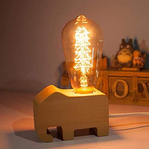 Creatieve, handgemaakt beukenhout voor kinderen, olifant, led-bureaulamp met lampbehuizing, van beukenhout voor het hoofdeinde, decoratie, geschenk, plank.