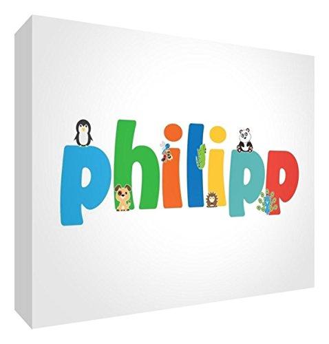 Little Helper PHILIPP-A5BLK-15DE - Tokie per bambini, con diamanti lucidati, personalizzabili con nome di ragazzo, Philipp, misura grande, 15 x 21 x 2 cm