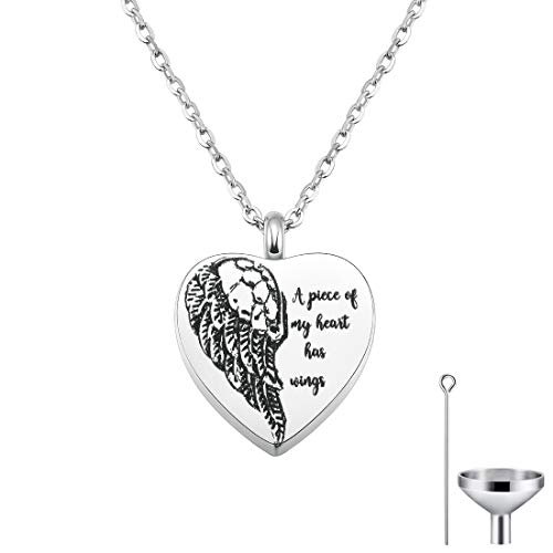CAT EYE JEWELS Stainless Steel A Piece of My Heart has Wings Heart Pendant Cremation Keepsake Ash Holder Memorial Urn Necklace for Ashes with Funnel Kit N023