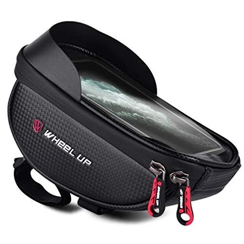 Dioxide Fahrrad Rahmentasche Wasserdicht Fahrradtasche Lenkertasche mit TPU-Touchscreen, Fahrrad Handyhalterung ideal fürs Navi für Smartphone unter 6,5 Zoll mit Glocken und Schraubenschlüssel
