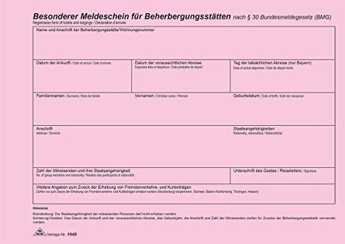 RNK 1649 Zimmerrechnungsbücher, Gäste- und Meldungsbücher Fremdenmeldeblock A5