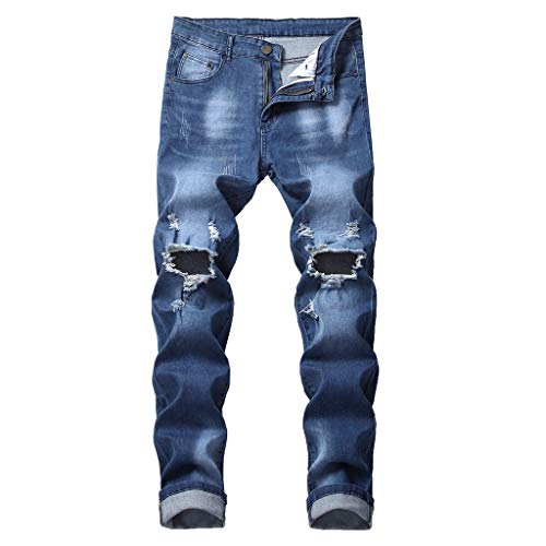 Lookatool Jeans Men's Ripped Slim Straight fit Biker Jeans Men's Vintage Skinny Fit Destroyed Cotton Denim Jeans with Knee Open Rips 36 Dark Blue