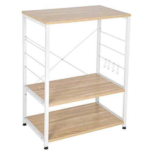 WOLTU RGB9309hei Küchenregal Standregal Mikrowellenhalter Bäcker Regal Metallregal aus Holz und Stahl, mit 3 Ablagen, ca. 60 x 40 x 82 cm, Weiß + Hell Eiche