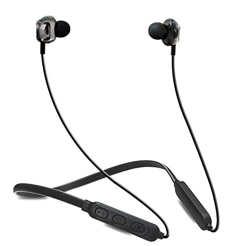 WeCool Wireless Neckband Bluetooth Earphone with Dual Drivers Stereo HD Sound Neckband Bluetooth Earphones with Mic Secure-Fit Sports Headphones for Running and Workout