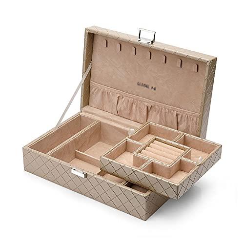 OMING Cajas para Joyas Organizador de Caja de joyería de Cuero PU con 2 Estuches de Relojes de Relojes de la Bandeja extraíble Caja de Almacenamiento Organizador de Joyas de Terciopelo (Color : C)