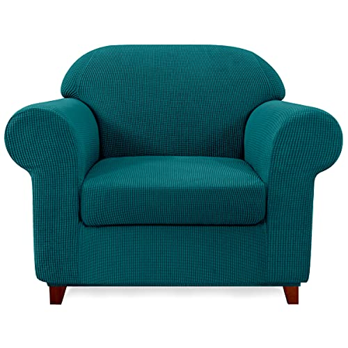 subrtex Sofa Cover 2 Piece Stretch Sofa Slipcover Soft Couch Slipcovers Washable Furniture Covers, Jacquard Fabric Small Checks(Turquoise,Small)