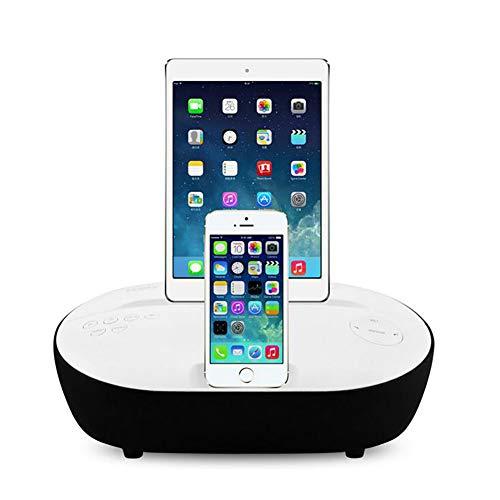 hll-036 Altavoz Bluetooth Doble Alarma FM Reloj Radio Muelle Lightning para iPhone X/8/7/7Plus/6/6Plus 5/SE Carga Doble,White