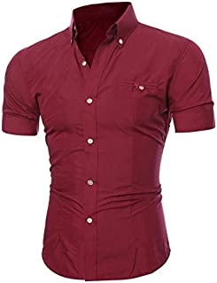 Foowni Men Fashion Luxury Business Stylish Slim Fit Short Sleeve Casual Shirt