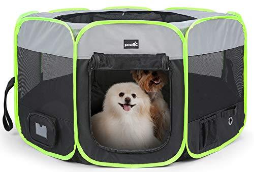 Pecute Parque para Perros Corralito para Perros Portátil Impermeable Recinto Plegable de Juego Entrenamiento para Mascotas, Cachorros, Gatos, Conejos y Pequeño Animales para Dentro o Afuera