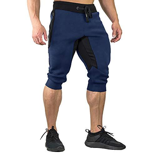 EKLENTSON Heren Katoen Casual shorts 3/4 Jogger Capri Broek Ademend Onderknie Korte Broek met Drie Zakken