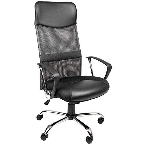 ONVAYA® ergonomischer Bürostuhl schwarz   Schreibtischstuhl mit Armlehnen   Chefsessel mit Netzrücken   Drehstuhl