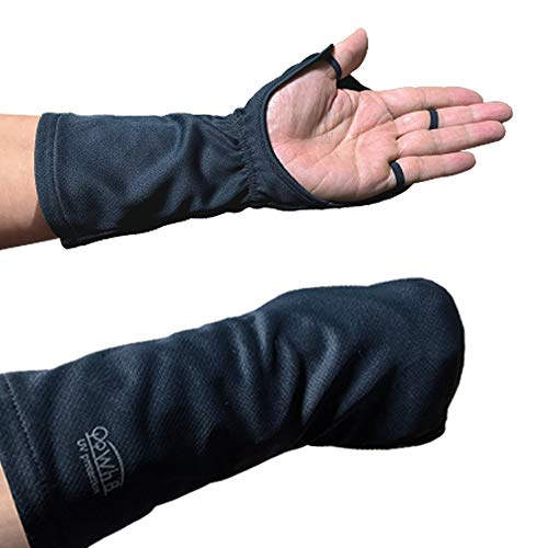 UVカット 指まで隠れるハンドカバー 【手の甲の日焼け防止手袋】紫外線対策 (ブラック男性サイズ)