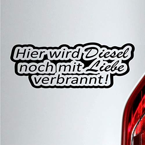 Autoaufkleber Hier wird Diesel noch mit Liebe verbrant Spruch sticker (Rot)