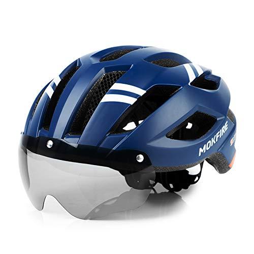 MOKFIRE Casco de Bicicleta de montaña con luz Trasera LED de Seguridad Gafas magnéticas Desmontables Cascos de Ciclismo de Carretera Cascos Ajustables para Hombres y Mujeres (22.44-24 Pulgadas