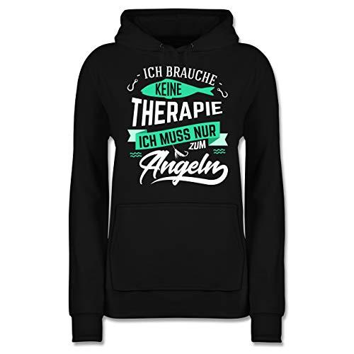 Shirtracer Angeln - Ich Brauche Keine Therapie Angeln - L - Schwarz JH001F - Damen Hoodie und Kapuzenpullover für Frauen