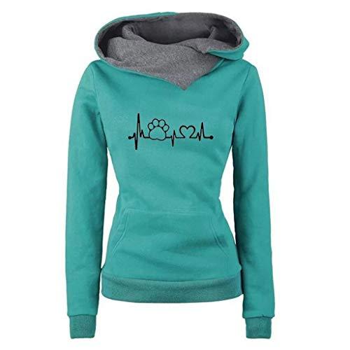 iYmitz Damen Herbst und Winter Beiläufig Hoodies Farbe Sweatshirt Reiner Blusen-Pullover(A-Grün,XXL)