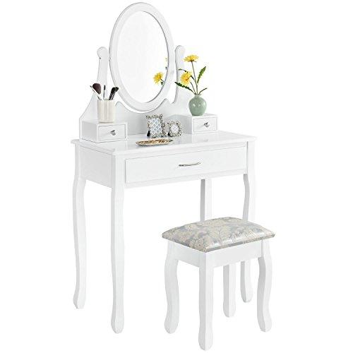 ArtLife Schminktisch Lena | Frisiertisch mit Spiegel, Hocker & 3 Schubladen | weiß | Landhausstil | MDF Holz | Mädchen Kosmetiktisch Kommode
